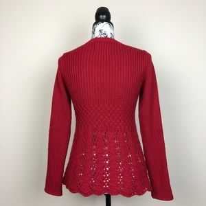 Anthropologie Sweaters - ANTHROPOLOGIE GUINEVERE Skirted Peplum Sweater Red